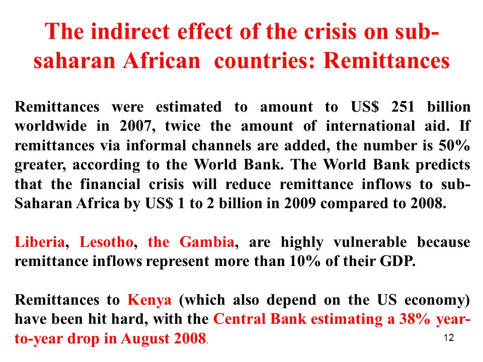 The indirect effect of the crisis on sub-saharan African countries: Remittances