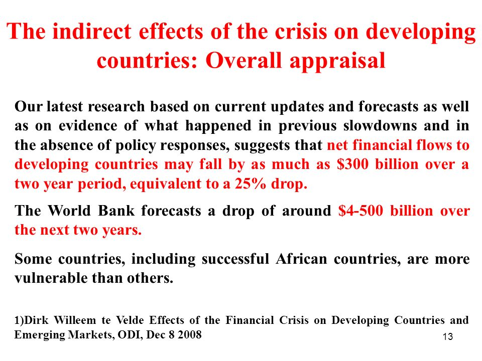 The indirect effects of the crisis on developing countries: Overall appraisal