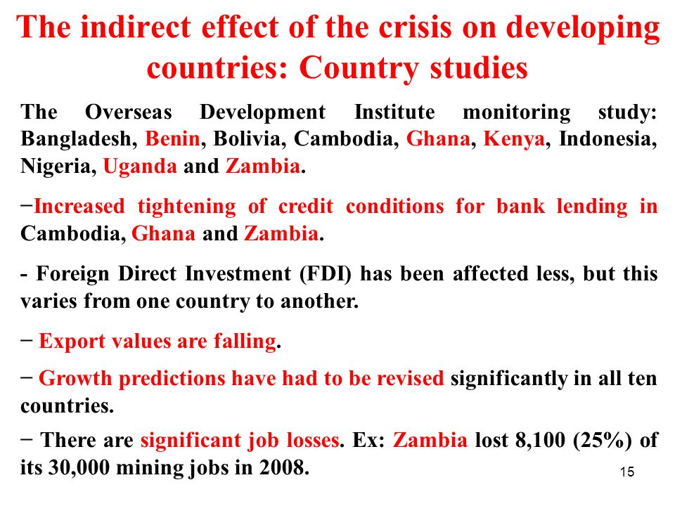 The indirect effect of the crisis on developing countries: Country studies