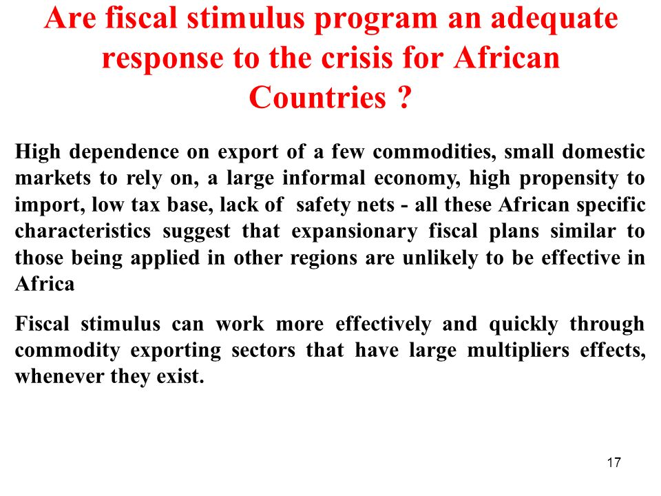 Are fiscal stimulus program an adequate response to the crisis for African Countries