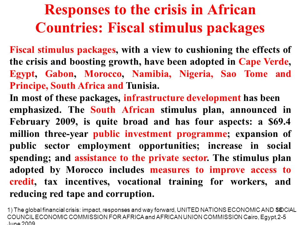 Responses to the crisis in African Countries: Fiscal stimulus packages