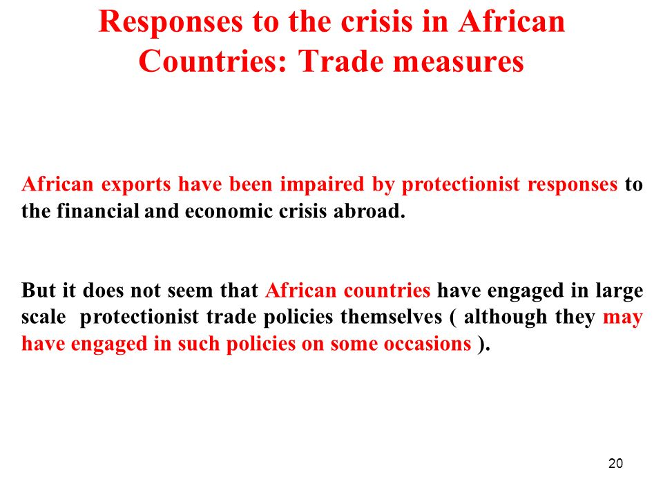 Responses to the crisis in African Countries: Trade measures