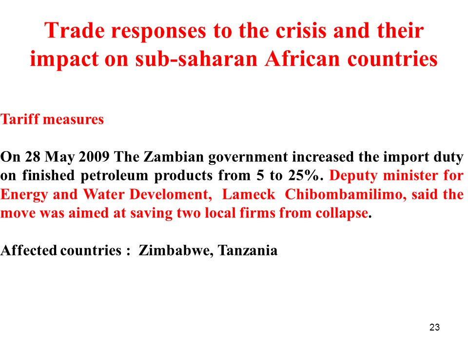 Trade responses to the crisis and their impact on sub-saharan African countries