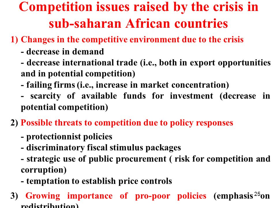 Competition issues raised by the crisis in sub-saharan African countries