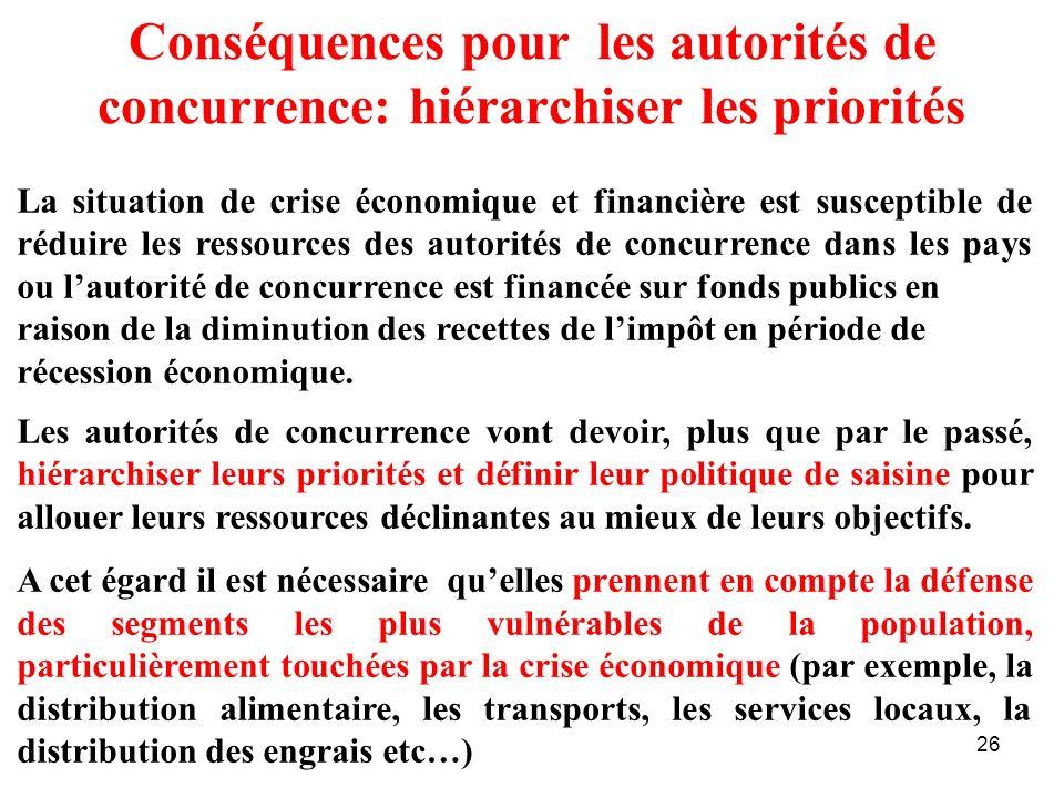 Conséquences pour les autorités de concurrence: hiérarchiser les priorités