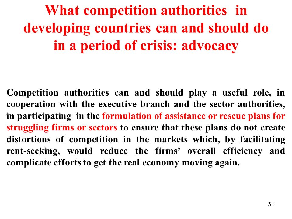 What competition authorities in developing countries can and should do in a period of crisis: advocacy