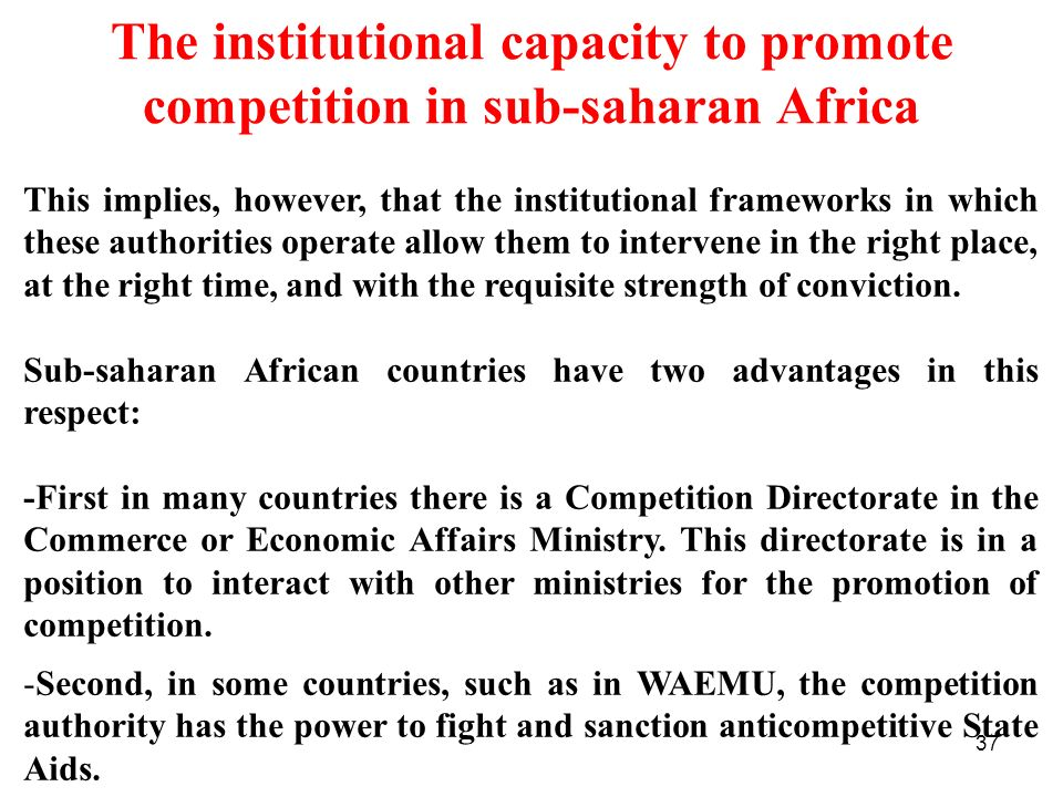 The institutional capacity to promote competition in sub-saharan Africa