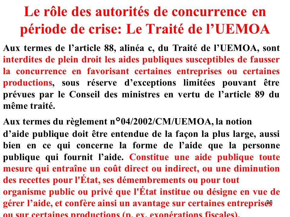 Le rôle des autorités de concurrence en période de crise: Le Traité de l'UEMOA