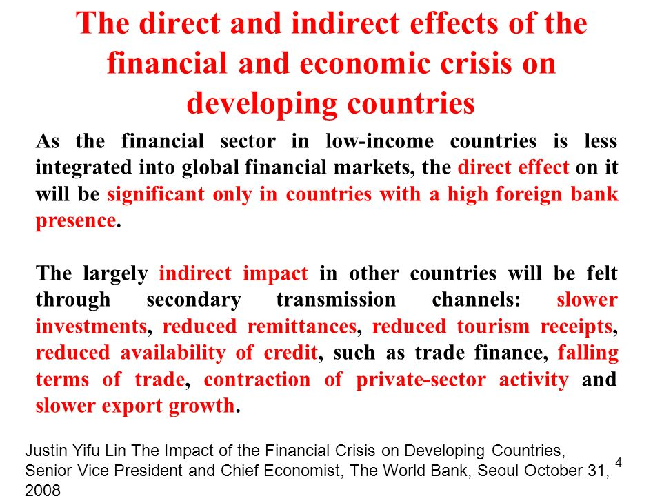 The direct and indirect effects of the financial and economic crisis on developing countries