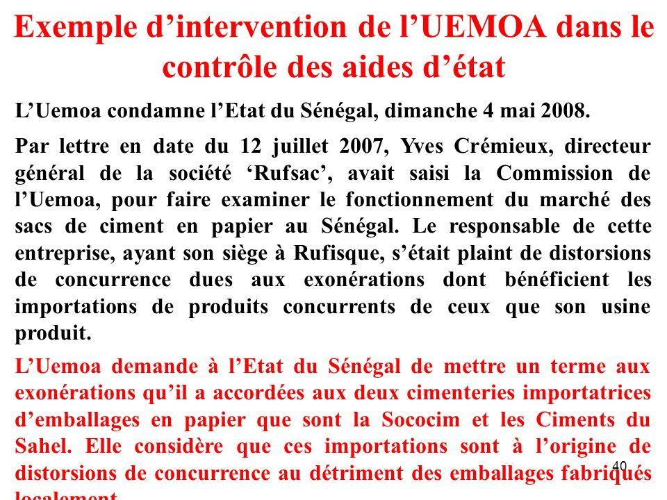 Exemple d'intervention de l'UEMOA dans le contrôle des aides d'état