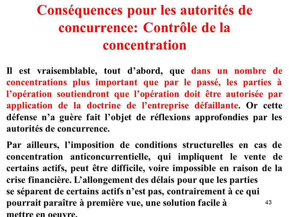 Conséquences pour les autorités de concurrence: Contrôle de la concentration