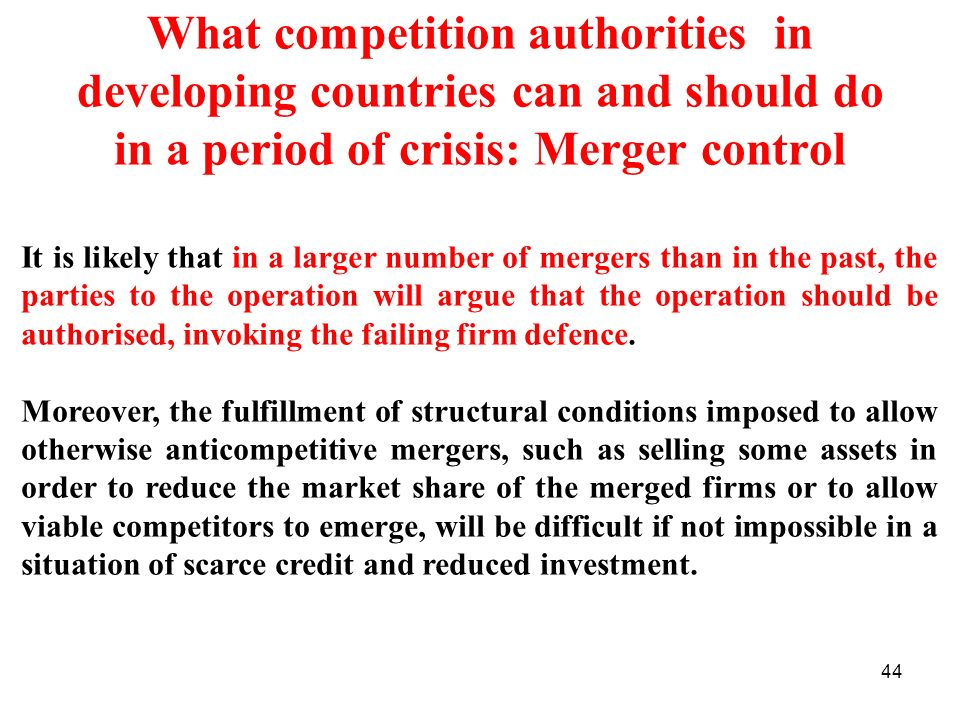 What competition authorities in developing countries can and should do in a period of crisis: Merger control
