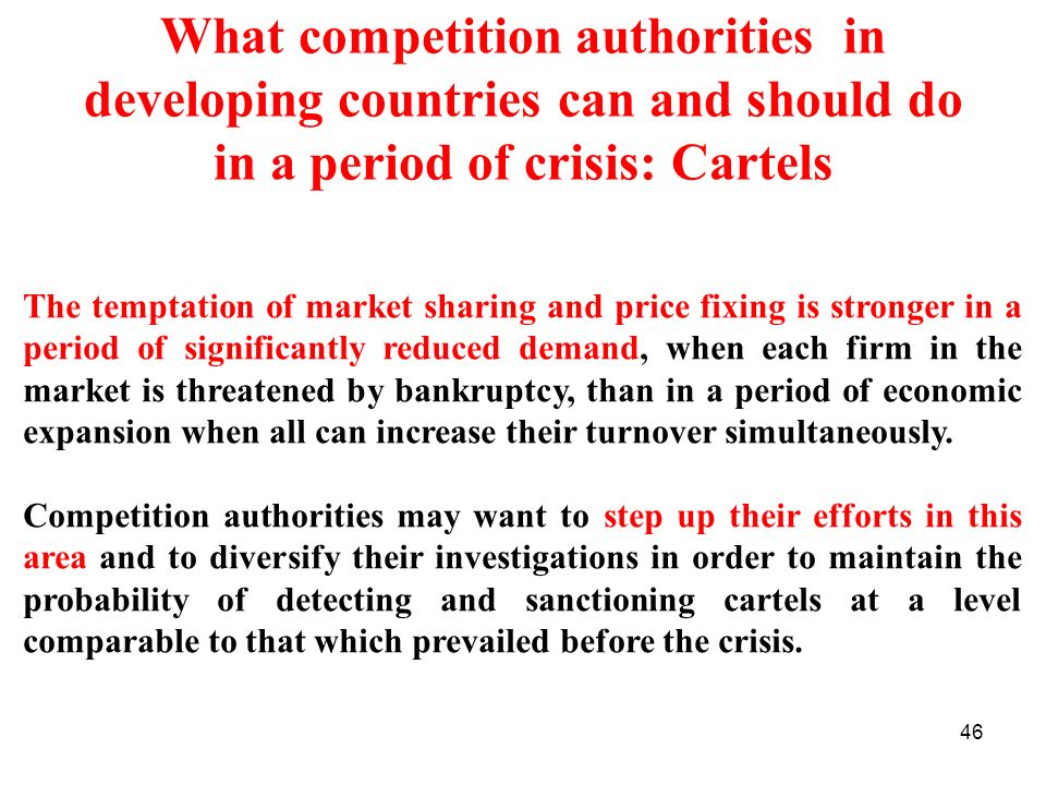 What competition authorities in developing countries can and should do in a period of crisis: Cartels