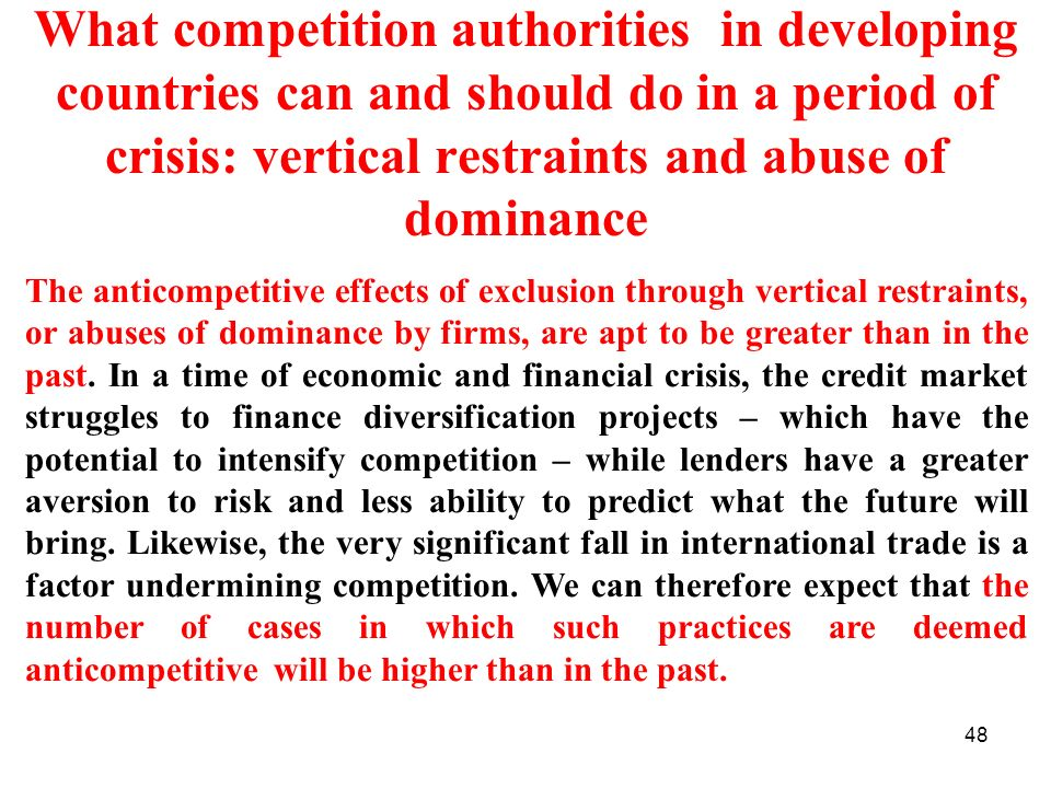 What competition authorities in developing countries can and should do in a period of crisis: vertical restraints and abuse of dominance