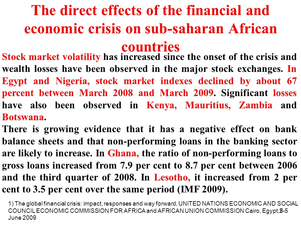 The direct effects of the financial and economic crisis on sub-saharan African countries