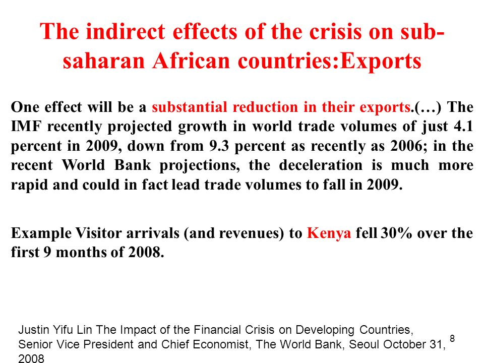 The indirect effects of the crisis on sub-saharan African countries:Exports
