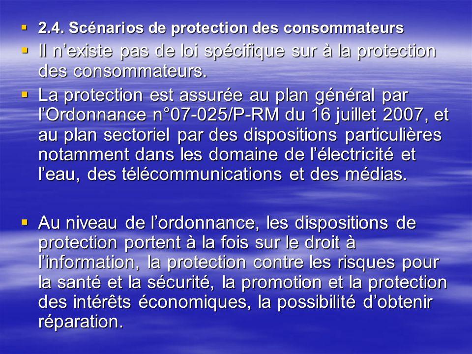 2.4. Scénarios de protection des consommateurs