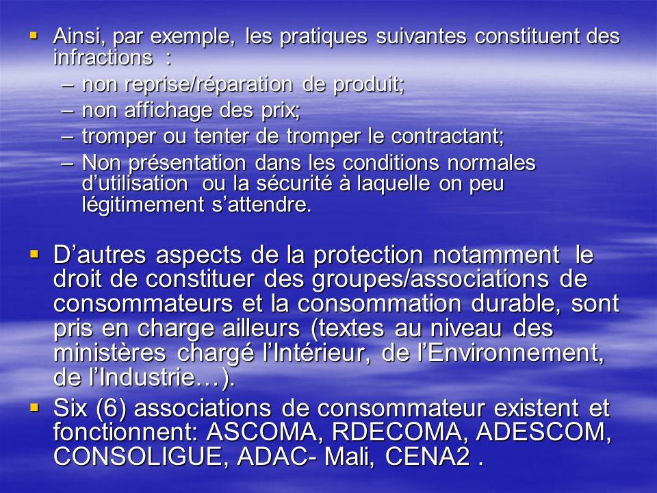 Ainsi, par exemple, les pratiques suivantes constituent des infractions :