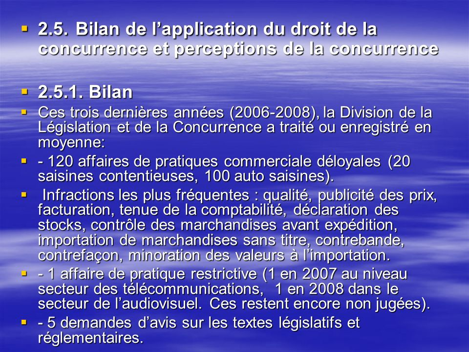 2.5. Bilan de l'application du droit de la concurrence et perceptions de la concurrence