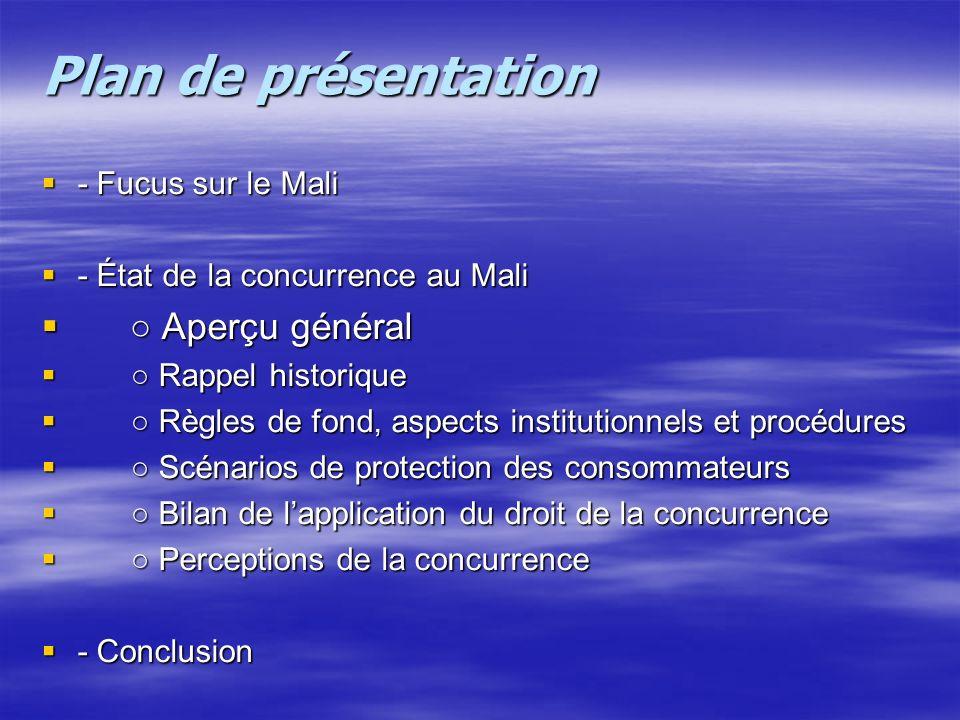 ○ Aperçu général - Fucus sur le Mali - État de la concurrence au Mali