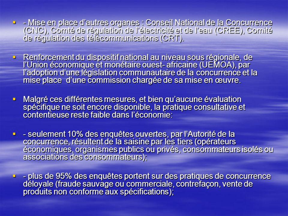 - Mise en place d'autres organes : Conseil National de la Concurrence (CNC), Comté de régulation de l'électricité et de l'eau (CREE), Comité de régulation des télécommunications (CRT).