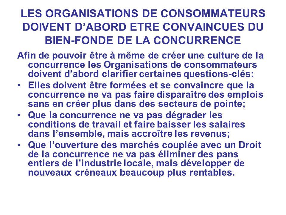 LES ORGANISATIONS DE CONSOMMATEURS DOIVENT D'ABORD ETRE CONVAINCUES DU BIEN-FONDE DE LA CONCURRENCE
