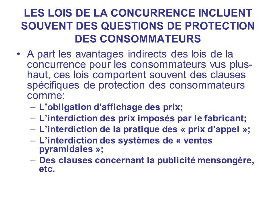 LES LOIS DE LA CONCURRENCE INCLUENT SOUVENT DES QUESTIONS DE PROTECTION DES CONSOMMATEURS
