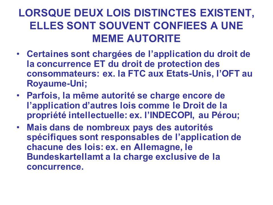 LORSQUE DEUX LOIS DISTINCTES EXISTENT, ELLES SONT SOUVENT CONFIEES A UNE MEME AUTORITE