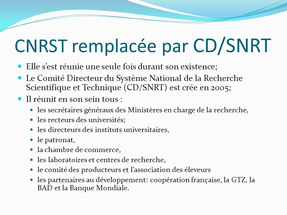 CNRST remplacée par CD/SNRT