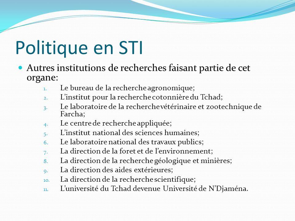 Politique en STI Autres institutions de recherches faisant partie de cet organe: Le bureau de la recherche agronomique;