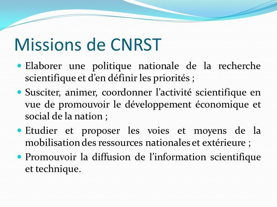Missions de CNRSTElaborer une politique nationale de la recherche scientifique et d'en définir les priorités ;