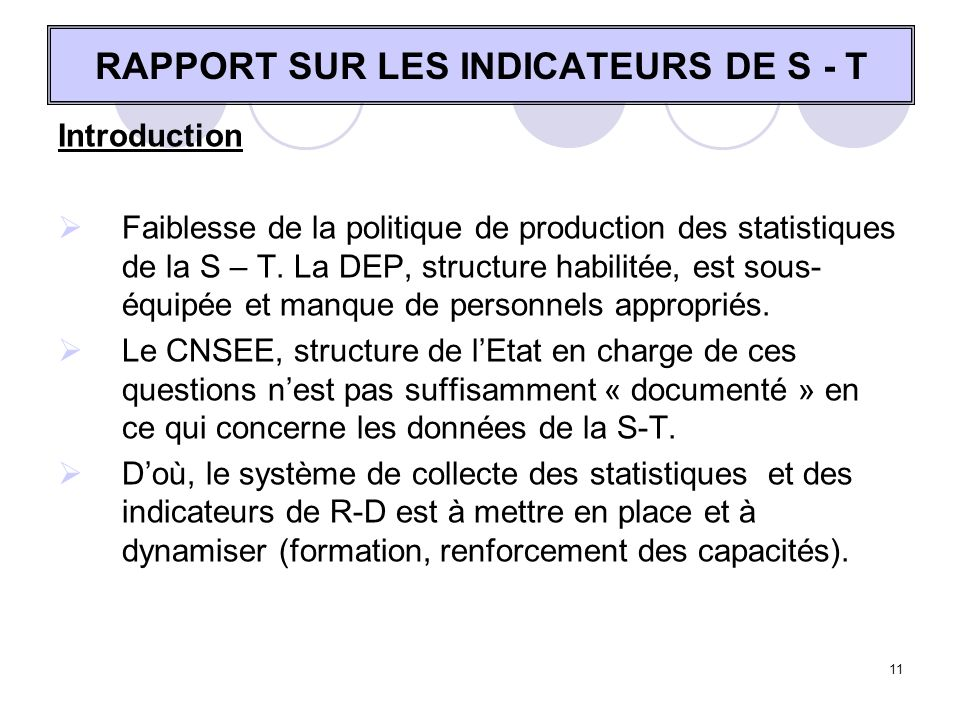 RAPPORT SUR LES INDICATEURS DE S - T