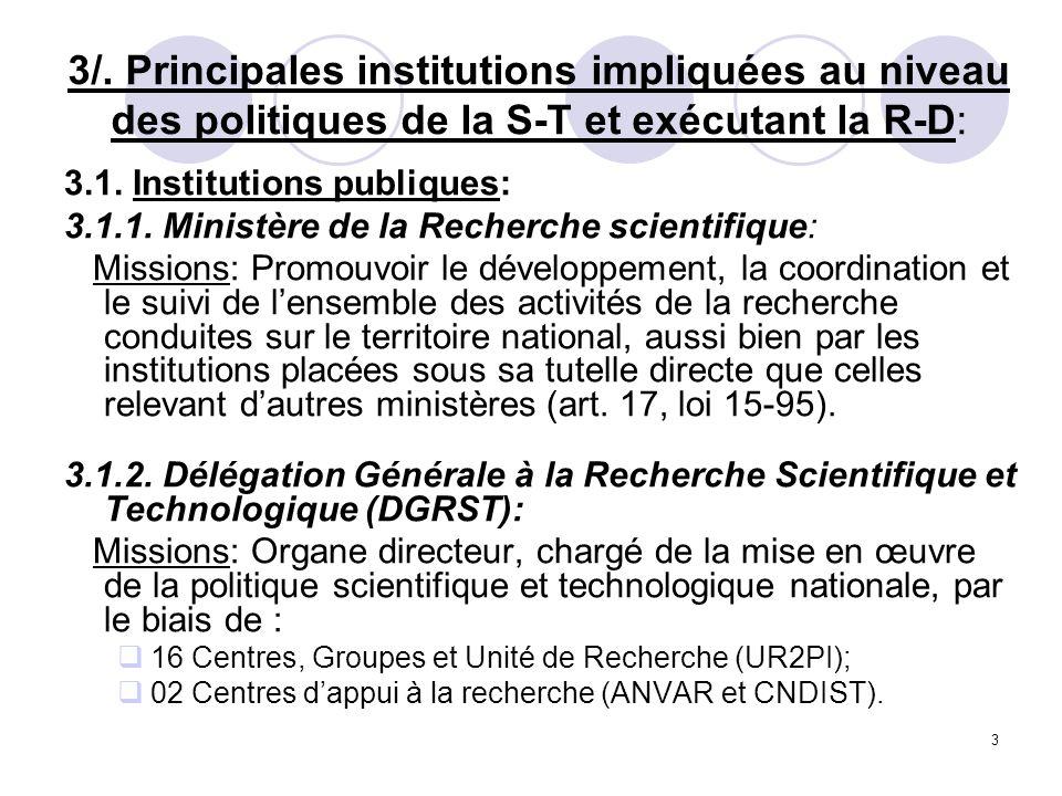 3/. Principales institutions impliquées au niveau des politiques de la S-T et exécutant la R-D: