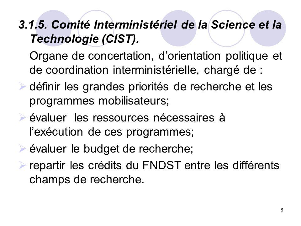 3.1.5. Comité Interministériel de la Science et la Technologie (CIST).