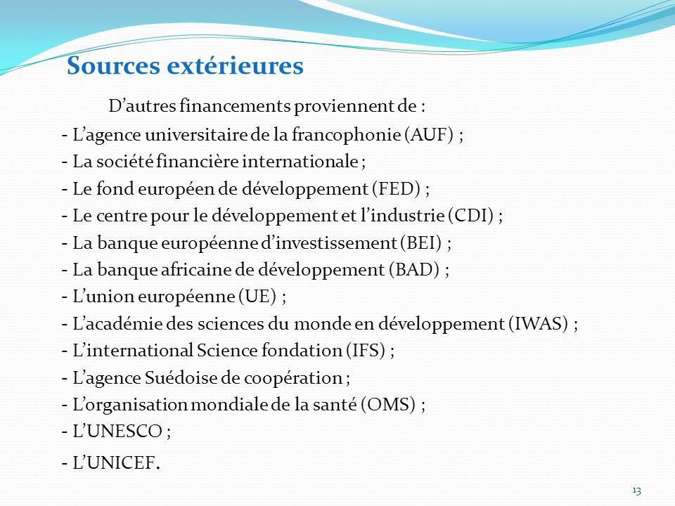 D'autres financements proviennent de :