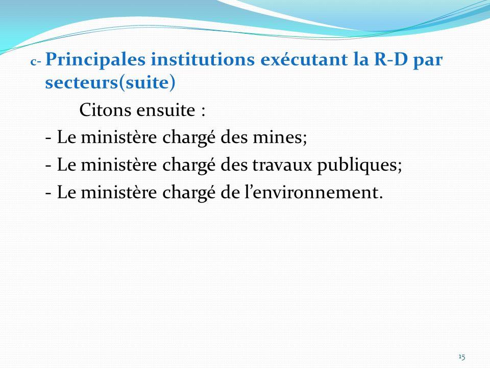 - Le ministère chargé des mines;