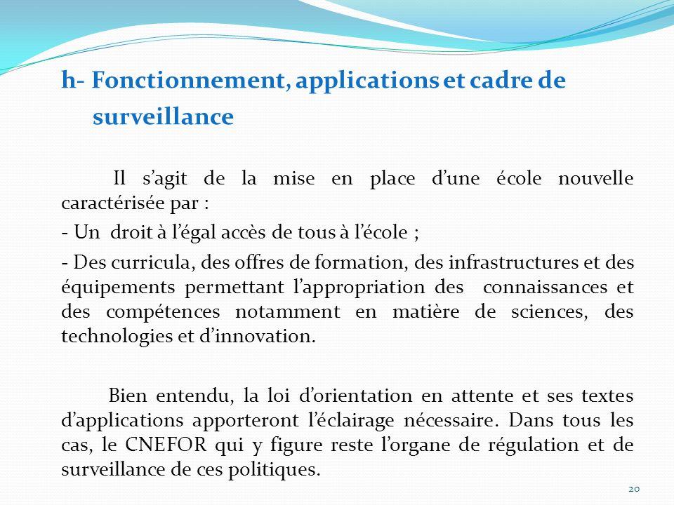 h- Fonctionnement, applications et cadre de
