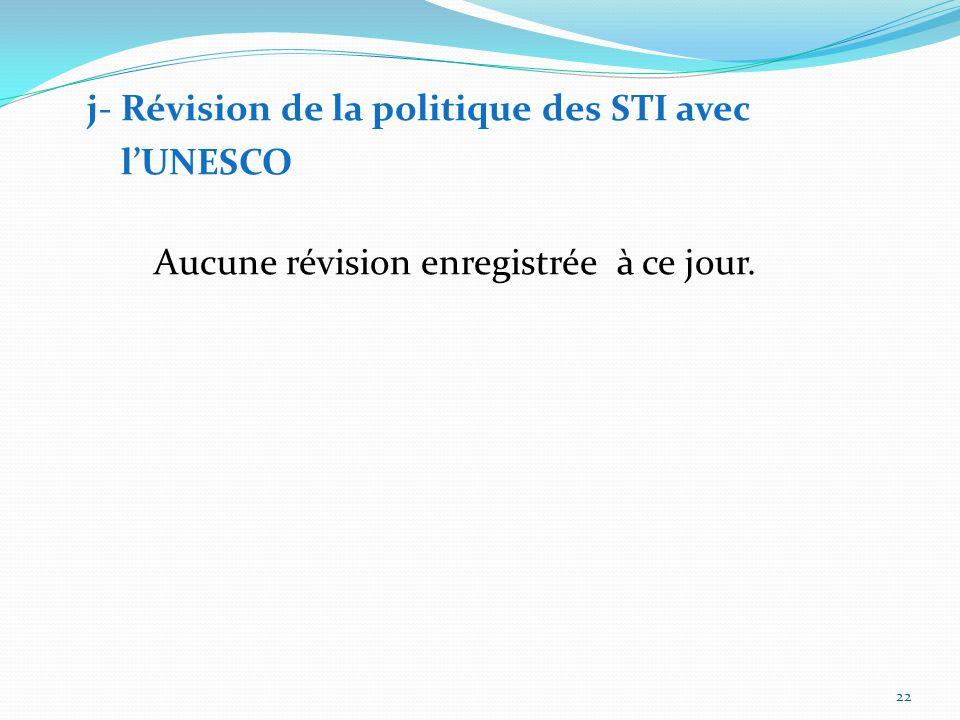 l'UNESCO j- Révision de la politique des STI avec