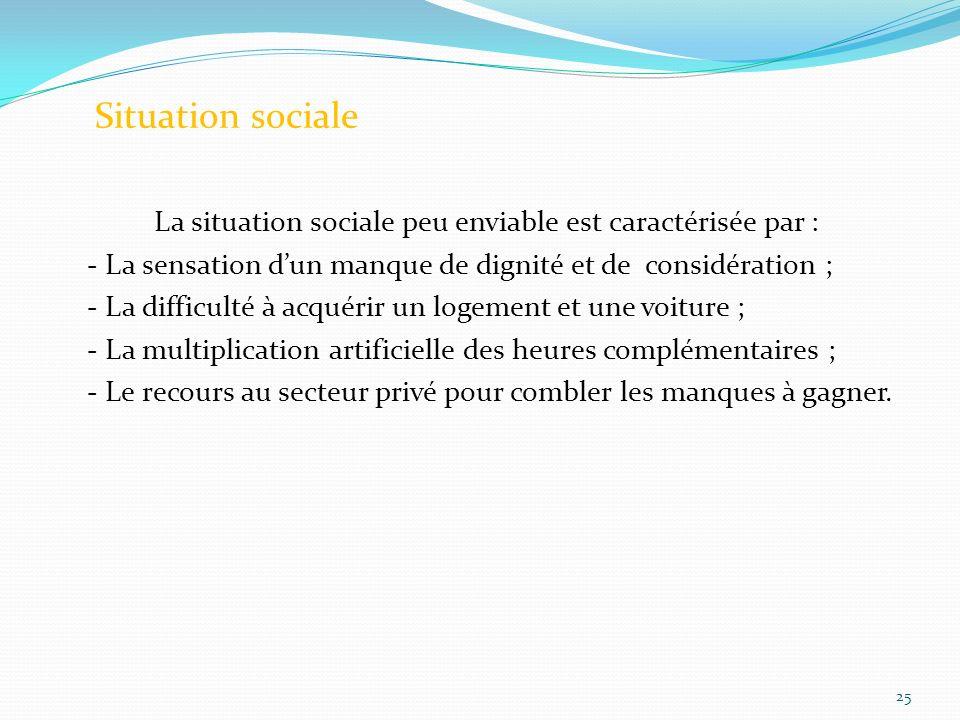 La situation sociale peu enviable est caractérisée par :