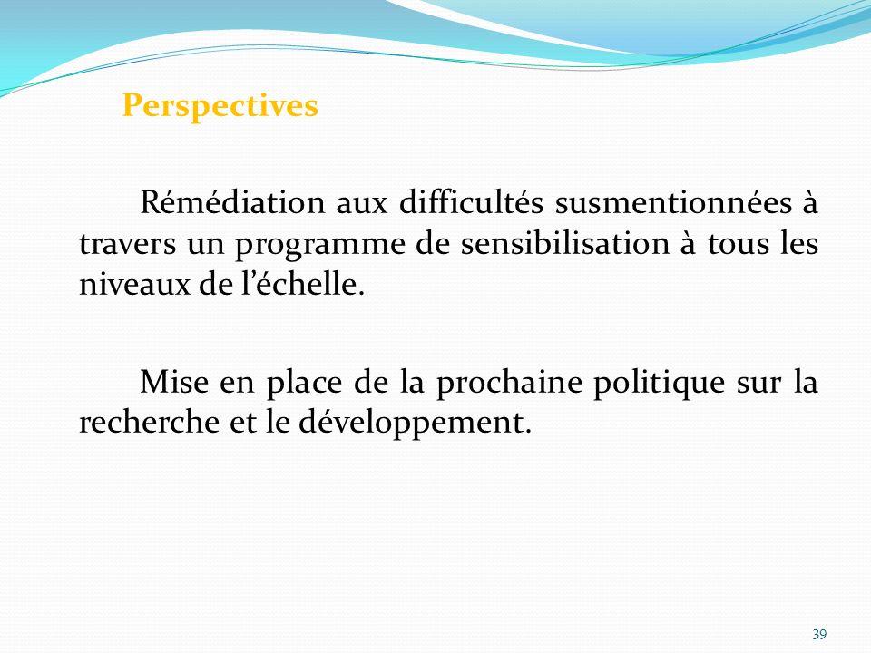 Perspectives Rémédiation aux difficultés susmentionnées à travers un programme de sensibilisation à tous les niveaux de l'échelle.
