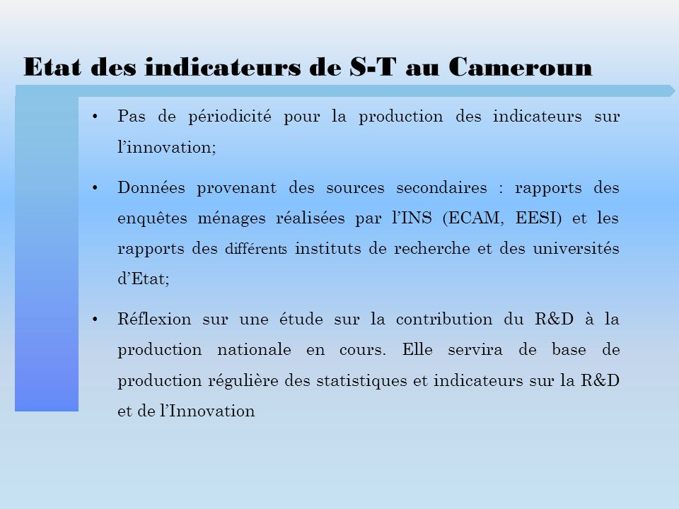Etat des indicateurs de S-T au Cameroun