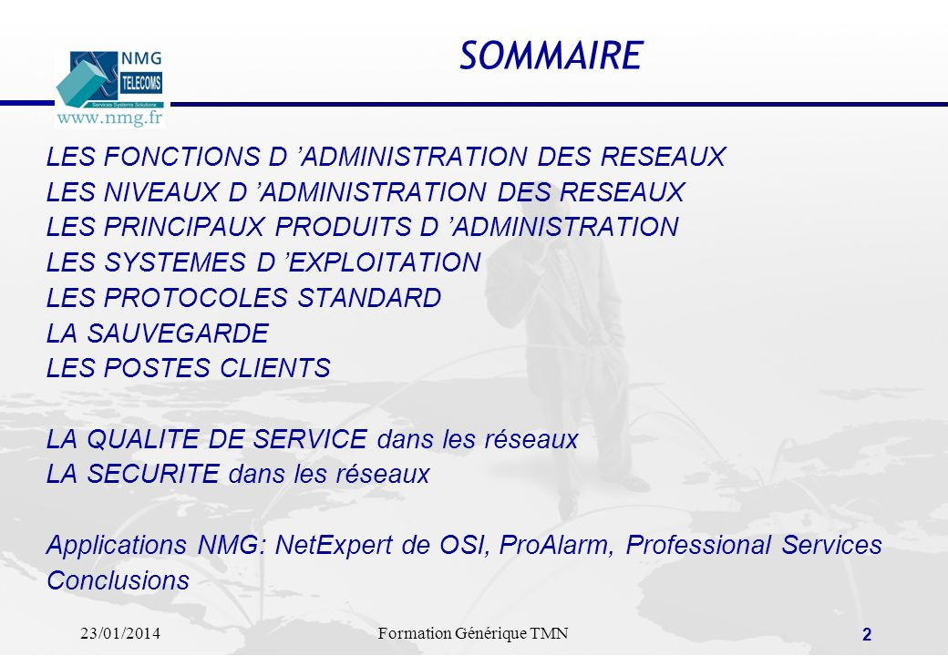 SOMMAIRE LES FONCTIONS D 'ADMINISTRATION DES RESEAUX