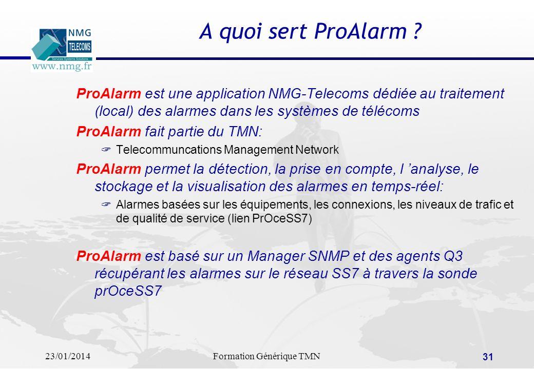 A quoi sert ProAlarm ProAlarm est une application NMG-Telecoms dédiée au traitement (local) des alarmes dans les systèmes de télécoms.