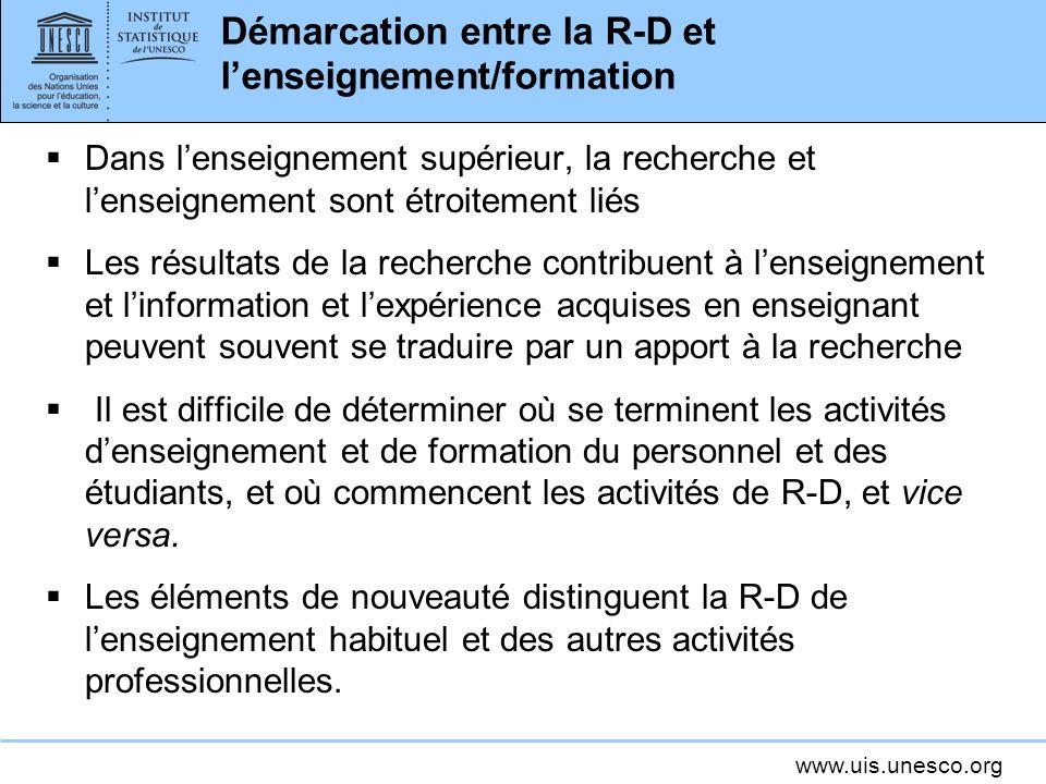Démarcation entre la R-D et l'enseignement/formation