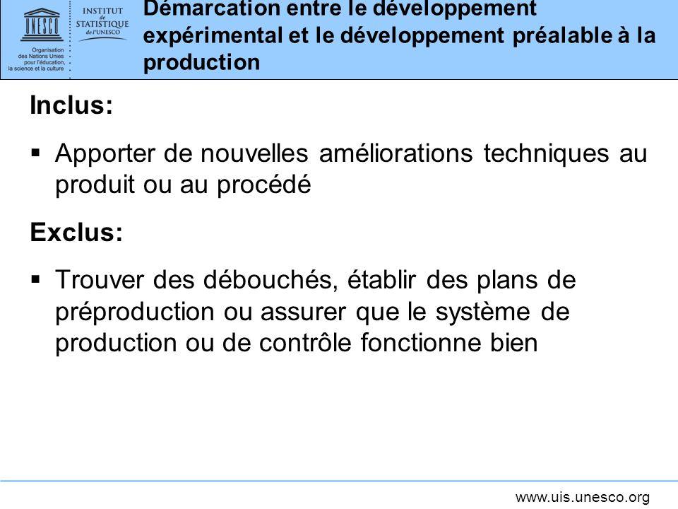 Démarcation entre le développement expérimental et le développement préalable à la production