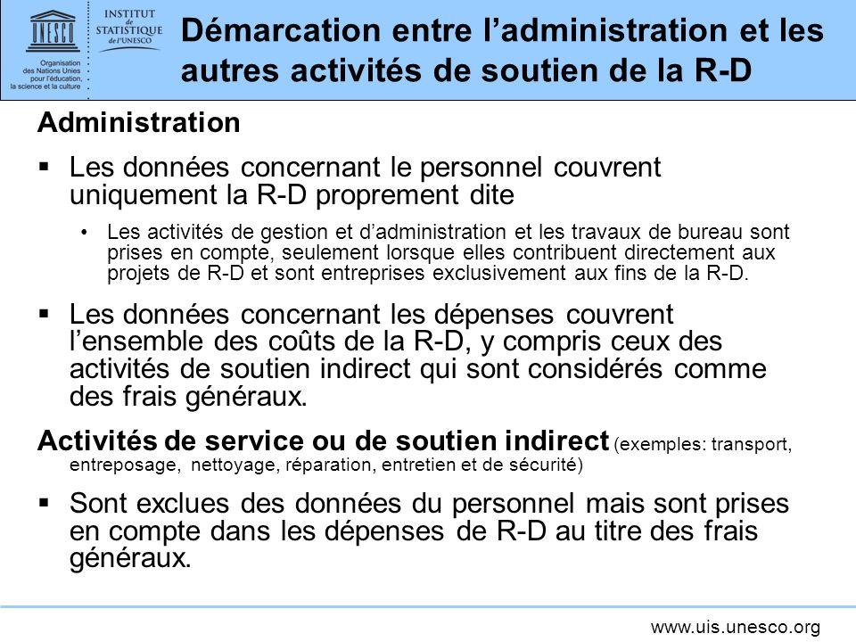Démarcation entre l'administration et les autres activités de soutien de la R-D
