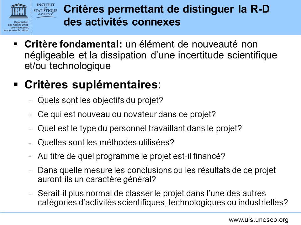 Critères permettant de distinguer la R-D des activités connexes