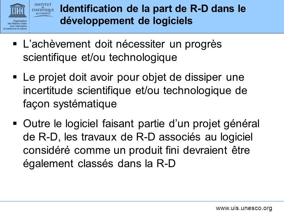 Identification de la part de R-D dans le développement de logiciels