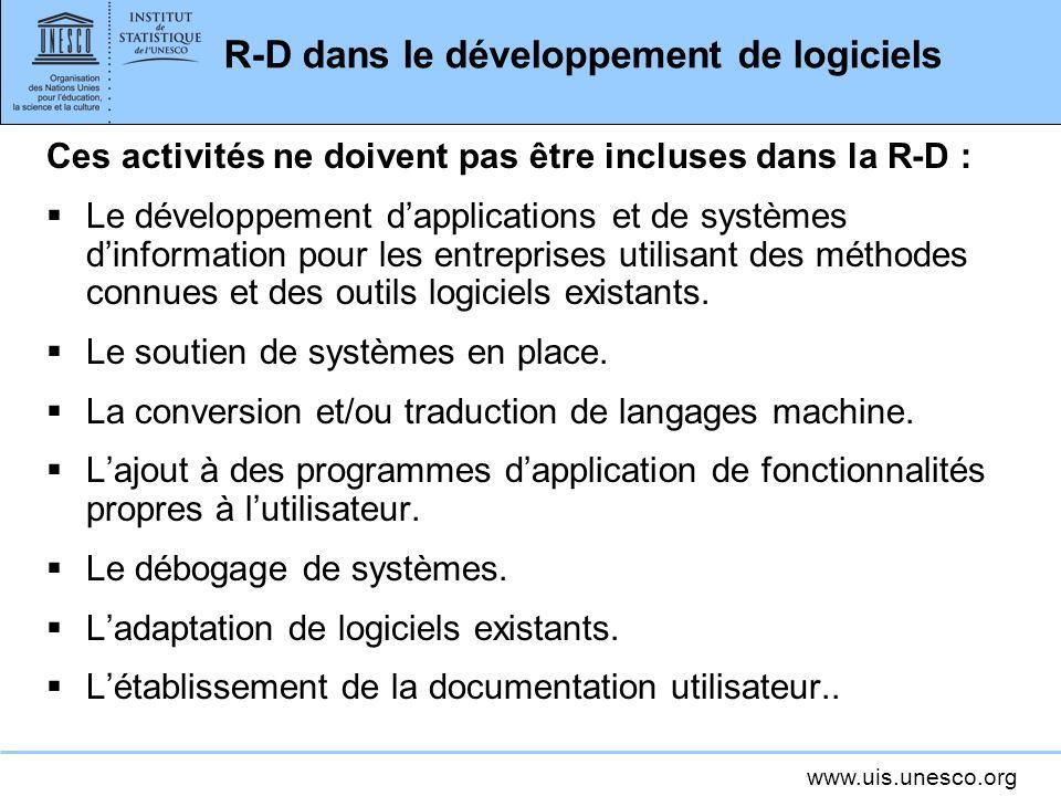 R-D dans le développement de logiciels