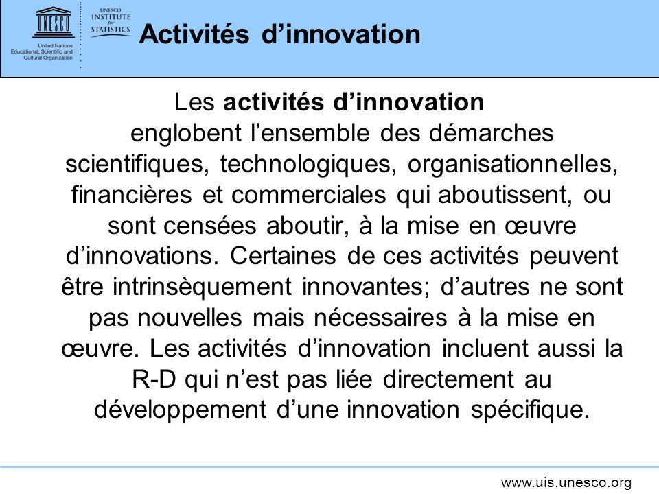 Activités d'innovation